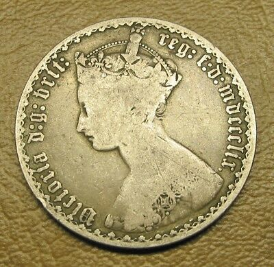 """1859 Sterling Silver English """"gothic"""" Florin, Date In Roman Numerals """"mdccclix"""""""