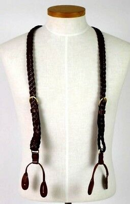 Vintage 80s Brown Woven Leather Suspenders Braces Braided Retro Belted