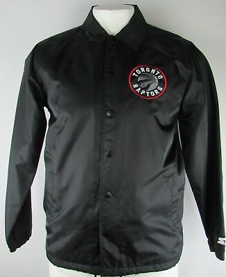 Toronto Raptors Mens Black Snap-Up Collared Varsity Jacket Large NBA