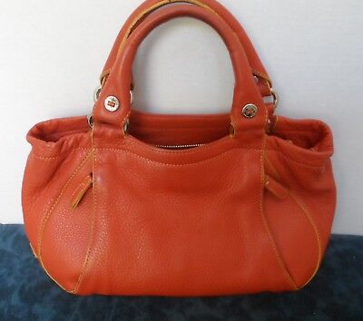 Cole Haan Pebbled Leather Satchel Purse Orange for Fall ee796f8289b1d