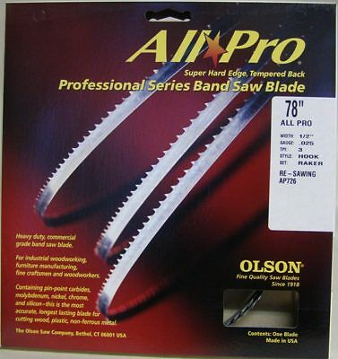"""Olson AP72678 78"""" All Pro Band Saw Blades 1/2"""" x .025 3 TPI Style Hook"""