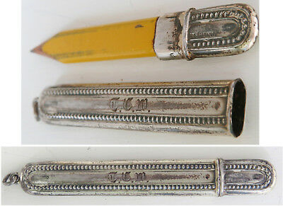 ANTIQUE Ornate Victorian Sterling Silver CHATELAINE Pencil Case Holder Exquisite