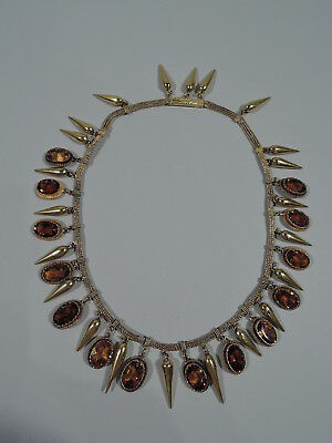 Antique Necklace - Etruscan Revival - French Yellow 18K Gold & Citrine - 1870