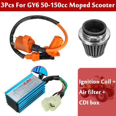 Racing AC CDI Box 6 Pin +Ignition Coil+Air Filter For GY6 50-150cc Moped Scooter