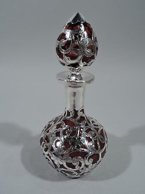 Gorham Perfume - D538 - Antique Bottle - American Red Glass & Silver Overlay