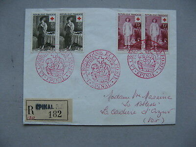 FRANCE, R-cover FDC 1956, pairs Red Cross Paintings, canc. Epinal