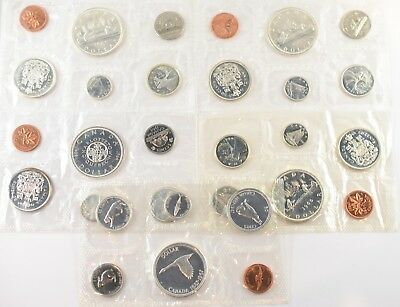 Lot of 5 Canada Sealed Proof Like Mint Set Coins 1963 - 1967 | Silver 80% Coins