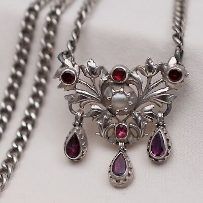 Antique Georgian Early Victorian Sterling Silver Garnet Pearl Pendant Necklace