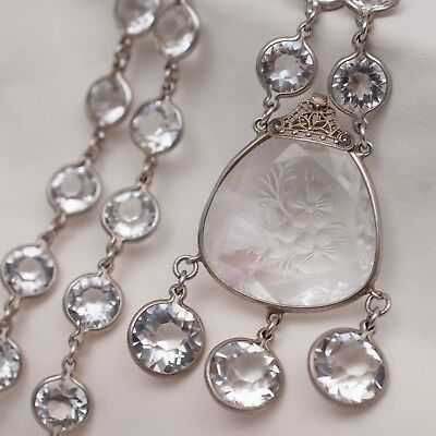 Vtg 1930's Art Deco Openback Open Back Bezel Set Crystal Pendant Glass Necklace