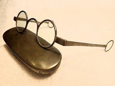 1770's Steel  Eyeglasses With Loops & Original Pins And Lenses In An Iron Case!