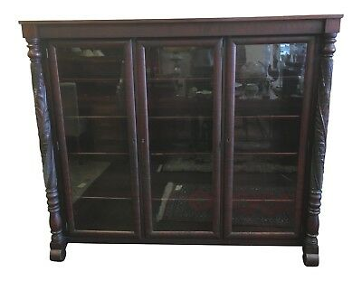 Early 1900s Acanthus Carved Mahogany Three Door Bookcase at Raleigh Furniture