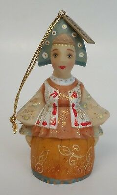"Debrekht Christmas Ornament Russian Girl Woman Figurine 3"" Hand Painted"