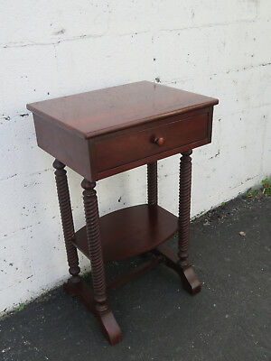 Early 1900s Solid Cherry Spindle Legs Nightstand End Side Table 8848