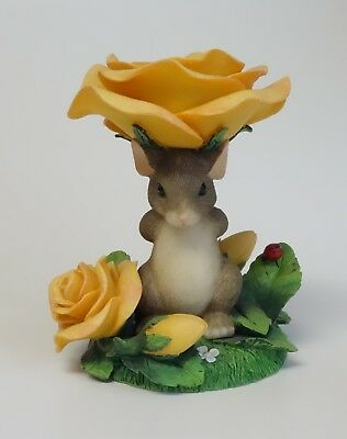 Charming Tails Mackenzie Mouse Candle Taper Holder Figurine Yellow Roses 93/202