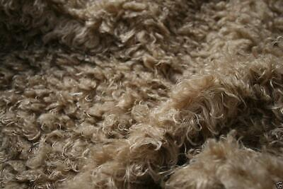 Super Luxury Faux Fur Fabric Material - CURLY BEIGE