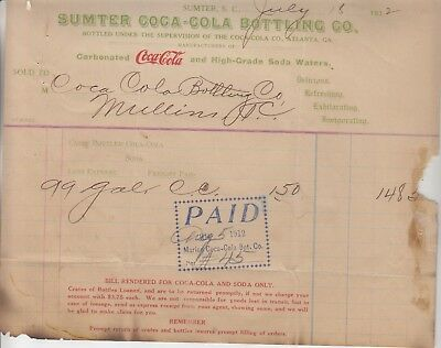 The Sumter  Coca-Cola Bottling  Co. Invoice  Dated  July 18, 1912  106 Years Old