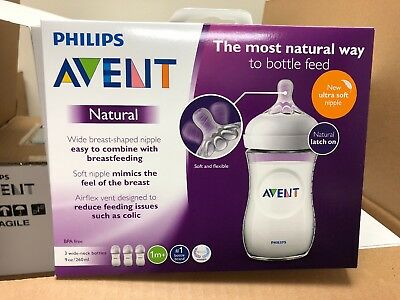 Philips Avent Natural 3-Pack Baby Bottles 9 oz BPA Free New Ultra Soft Nipple