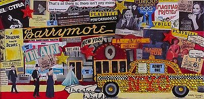 New York Yellow Taxi Broadway Theatre Playbill Barrymore Collage Art On Canvas