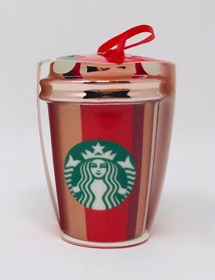NEW  Starbucks 2018 Christmas Ornament Ceramic Red Cup Stripe FREE SHIPPING
