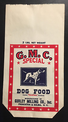 "1940's G.M.C. Special Dog Food Bag – North Carolina  ""New Old Stock"""