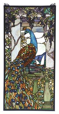 15 in. Peacock Wisteria Stained Glass Window [ID 3407356]