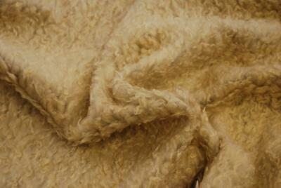 CURLY Teddy Faux Fur Fabric Material - TOFFEE