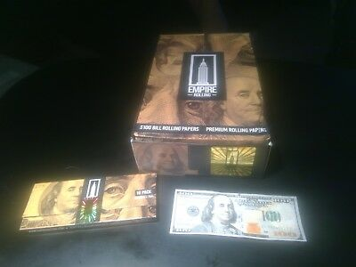 5 Wallets of 10 W/filters Empire $100 Dollar Bill Premium Rolling Paper Benny