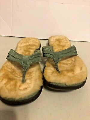 b55695d99a878a LL Bean Sz 7 Womens Wicked Good Leather Shearling Lined Flip Flop Slippers  Green