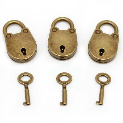 Vintage Old Antique Style Mini Padlocks Archaize Key Lock With key (Lot Of 3)