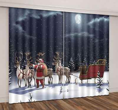 3D Window Curtains Xmas Night Snow Santa Sleigh Reindeer Blockout Drapes Fabric