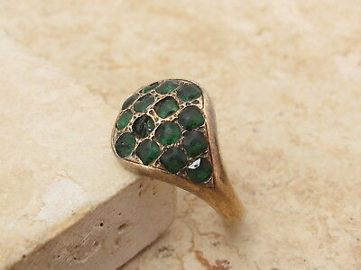 Antique Georgian George III 9ct 9k 375 Gold & Emerald Paste Ring c1780 Size K