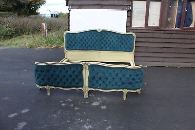 1920's Eye Catching Turquoise Upholstered Large Corbeille Bed Walnut Frame