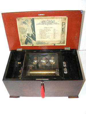 "ANTIQUE 10-AIR CYLINDER MUSIC BOX ""BELLS IN VUE"" WITH BUTTERFLY STRIKERS, c.1880"