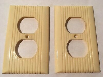 2 Vintage Mid Century Bakelite Single Gang Outlet Plate Covers w/ Lines