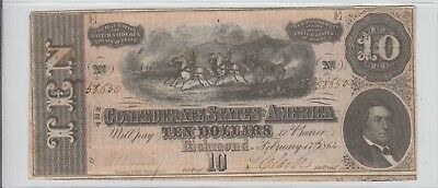 $10 Confederate States 1864 Currency