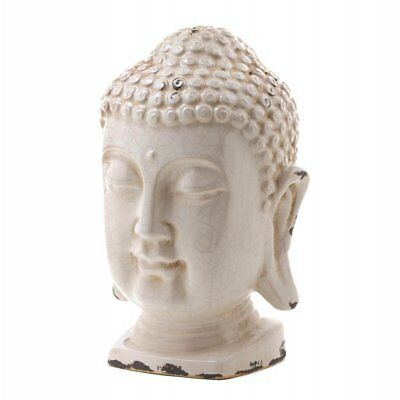 White Buddha Head Statue Crackle Glazed Ceramic 12 Inches Tall Stylish Nice