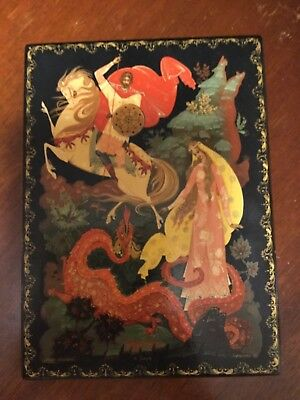 Large 8 x 6 in Russian Lacquer Box Kholuy Maria Morevna USSR Signed