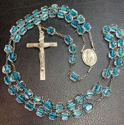 † Htf Stunning Vintage Sterling Murano Turquoise Clear Rosary Rosario Necklace †