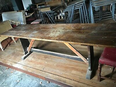 large old solid oak refectory table dining table kitchen table 8ft