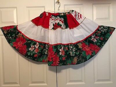 Square Dance Country Western Skirt Christmas Red White New M