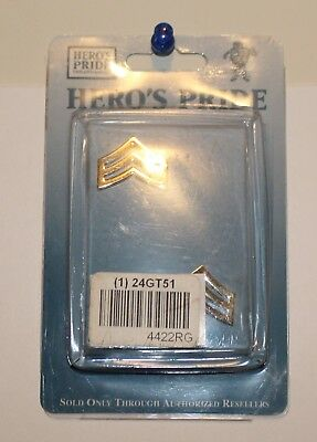 "New Gold Hero's Pride Sergeant Chevron Bar Insignia 1"" 24GT51 4422RG"