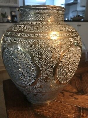 Antique Persian Ottoman Empire Engraved Brass VASE middle East ART