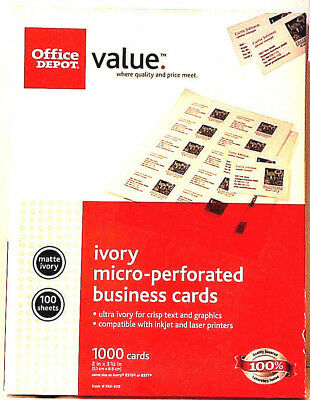 """Office Depot Brand 388-309 Ivory Business Cards 2"""" x 3 1/2"""", Ivory Pack Of 1,000"""