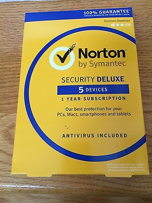 Norton Security Deluxe 2019 - 5 Devices - Newest Full Retail (Box, Key Card)