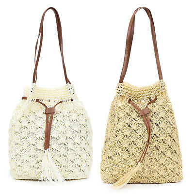 946c3d1c217e Women s Gifts Holiday Beach Straw Shoulder Handbag Tote Purse Bucket Bag  L8P2