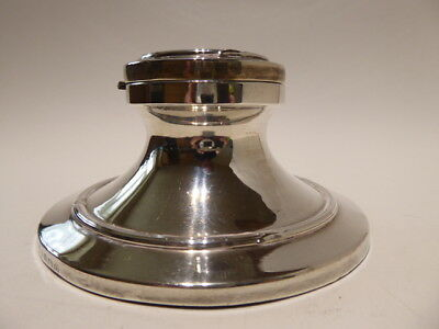 1919 Georgian Antique English Sterling Silver capstan inkwell