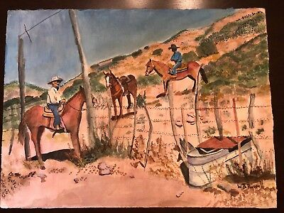 Original Watercolor Painting Double Sided Cowboys w/Horses/Cows W.B. Russell