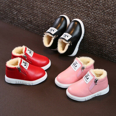 Toddler Baby Letter Sneakers Girl Boy Warm Soft Anti-slip Boots Shoes 6Y High
