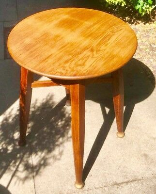 Art Deco Solid Oak Round Console Table By GASKELL & CHAMBERS BIRMINGHAM