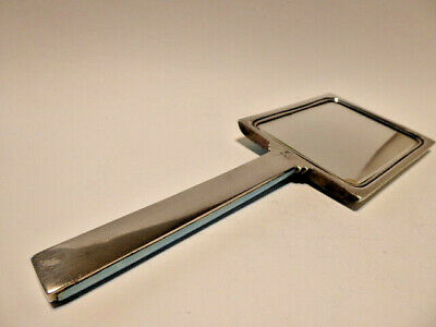 1924 English Sterling Silver and Guilloche Blue Enamel Hand Mirror in Art Deco